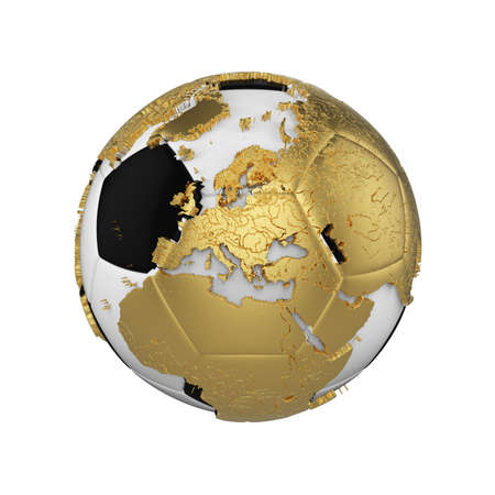 Soccer ball with planet earth globe concept isolated on white background. Football ball with gold metal continents.