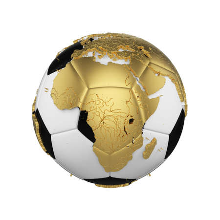 Soccer ball with planet earth globe concept isolated on white background. Football ball with gold metal continents. .