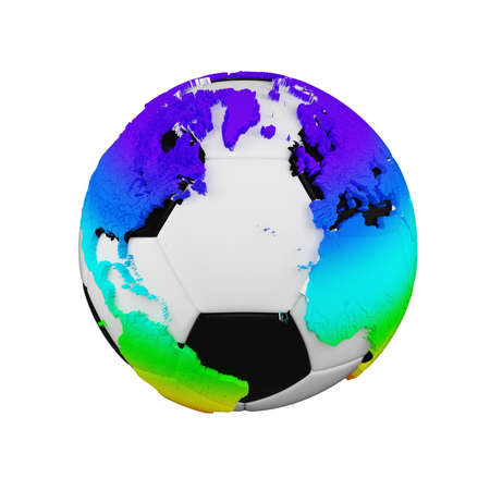 Soccer ball with planet earth globe concept isolated on white background. Football ball with rainbow continents.