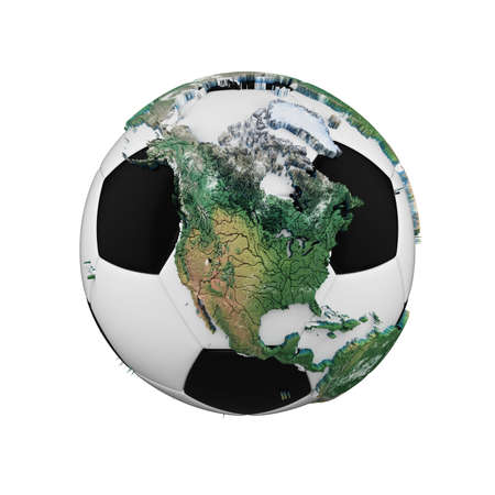 Soccer ball with planet earth globe concept isolated on white background. Football ball with realistic continents.