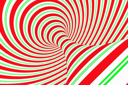 Christmas festive red and green spiral tunnel. Striped twisted xmas optical illusion. Hypnotic background. 3D render illustration. December winter celebration wallpaper.