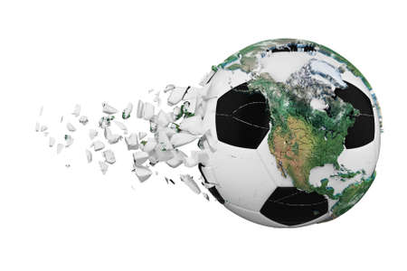 Crashed broken soccer ball with planet earth globe concept isolated on white background. Football ball with realistic continents. Foto de archivo - 122167813