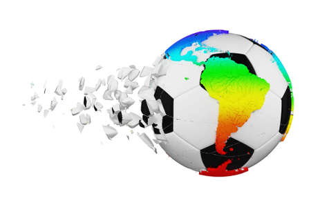 Crashed broken soccer ball with planet earth globe concept isolated on white background. Football ball with rainbow continents. 스톡 콘텐츠