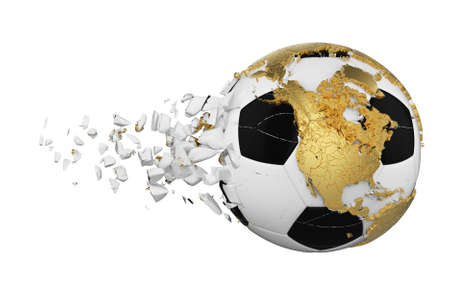 Crashed broken soccer ball with planet earth globe concept isolated on white background. Football ball with gold continents. Stockfoto