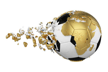 Crashed broken soccer ball with planet earth globe concept isolated on white background. Football ball with gold continents. 스톡 콘텐츠