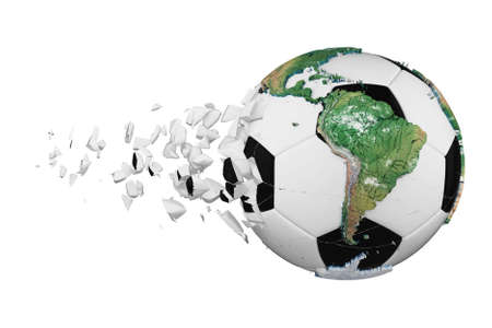 Crashed broken soccer ball with planet earth globe concept isolated on white background. Football ball with realistic continents.