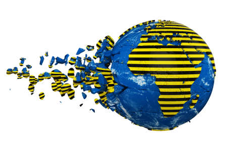 Broken crashed planet Earth globe isolated on white background. Striped police warning safety ribbon. Concept dangerous zones and protection Earth. Foto de archivo - 122167837