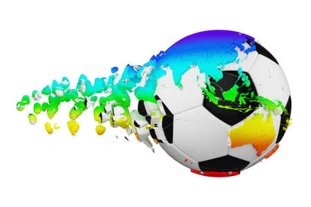 Crashed broken soccer ball with planet earth globe concept isolated on white background. Football ball with rainbow continents. Stock Photo
