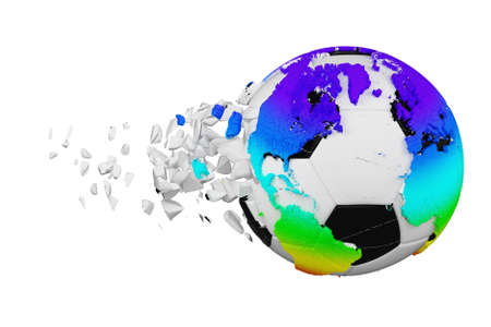 Crashed broken soccer ball with planet earth globe concept isolated on white background. Football ball with rainbow continents. Stockfoto