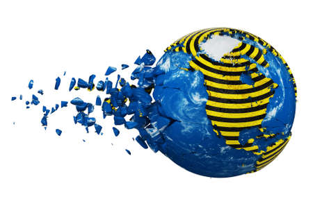 Broken crashed planet Earth globe isolated on white background. Striped police warning safety ribbon. Concept dangerous zones and protection Earth. 3d render