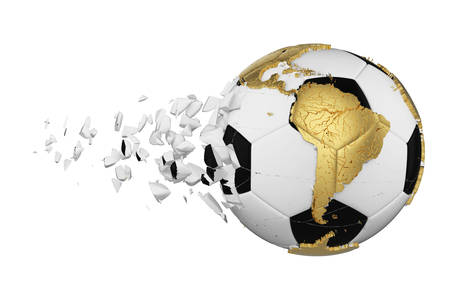 Crashed broken soccer ball with planet earth globe concept isolated on white background. Football ball with gold continents.v Foto de archivo - 122167866