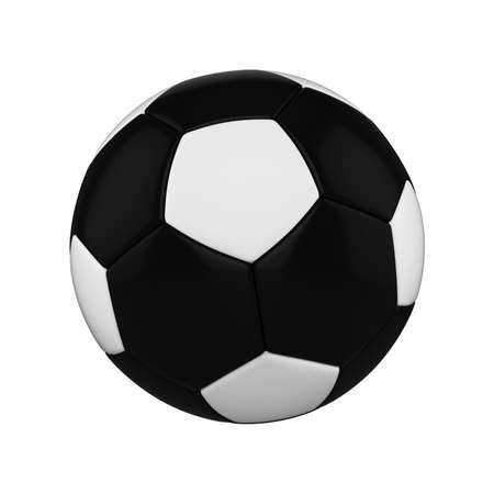 Ballon de soccer isolé sur fond blanc. Ballon de football noir et blanc. Illustration de rendu 3D de l'équipement de sport. Banque d'images