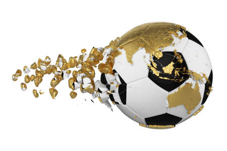 Crashed broken soccer ball with planet earth globe concept isolated on white background. Football ball with gold continents. Reklamní fotografie