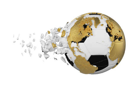 Crashed broken soccer ball with planet earth globe concept isolated on white background. Football ball with gold continents. Stock Photo