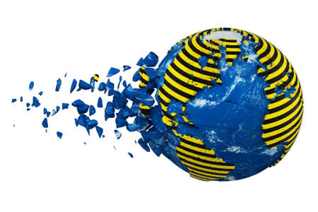 Broken crashed planet Earth globe isolated on white background. Striped police warning safety ribbon. Concept dangerous zones and protection Earth.