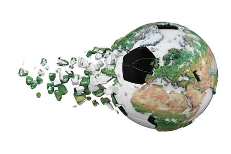 Crashed broken soccer ball with planet earth globe concept isolated on white background. Football ball with realistic continents