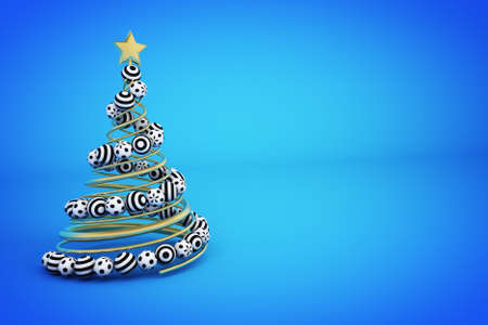 Abstract golden spiral christmas tree with dotted and striped balls. 3d render illustration on blue background. Holiday greeting card. Stock Photo