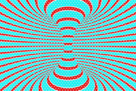 Christmas festive red and blue spiral tunnel. Striped twisted xmas optical illusion. Hypnotic background. 3D render illustration. December winter celebration wallpaper.