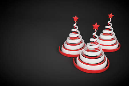 Abstract festive spiral christmas tree made of white and red ribbons with star. 3d render illustration on black background. Holiday greeting card. Stock Photo