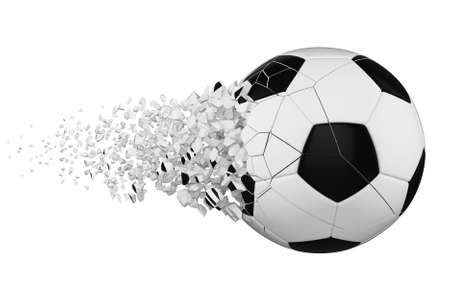 Crashed broken soccer ball isolated on white background. White and black shattered football ball. 3d render illustration of sport equipment. 스톡 콘텐츠