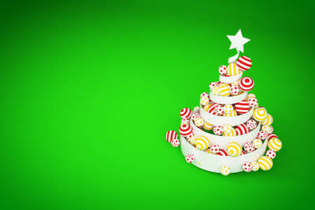 Abstract festive spiral christmas tree made of white ribbon with dotted and striped xmas balls. 3d render illustration on green background. Holiday greeting card. Stock Photo