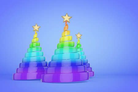 Rainbow spiral Christmas trees 3d color illustration. Plastic Xmas fir trees with golden top star. Colorful Xmas decoration on blue gradient background. Greeting card, poster raster design element