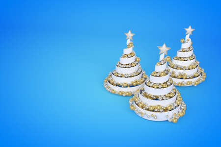 Spiral Christmas trees 3d color illustration. Helix Xmas fir trees with golden, silver balls. Luxury New Year decoration on blue gradient background. Greeting card, poster raster design element