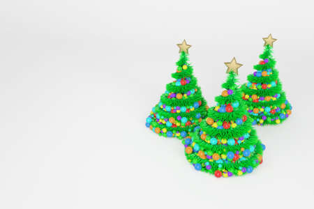 Artificial Christmas trees 3d color illustration. Xmas fir trees with spiral multicolor balls garland. Green New Year decoration on bright background. Greeting card, poster raster design element Foto de archivo - 122170581