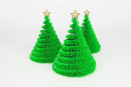 Artificial Christmas trees 3d color illustration. Realistic Xmas plastic fir trees with golden top star. Green fluffy New Year decoration on bright background. Greeting card, poster raster design element Foto de archivo - 122170582