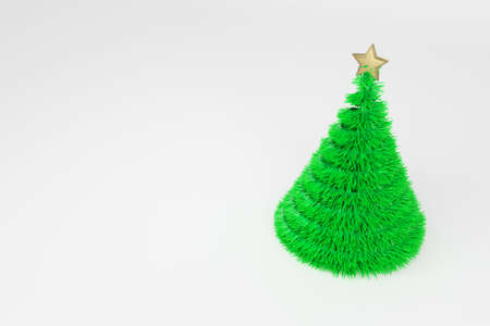Artificial Christmas tree 3d color illustration. Realistic Xmas plastic fir tree with golden top star. Green fluffy New Year decoration on bright background. Greeting card, poster raster design element Stock Photo