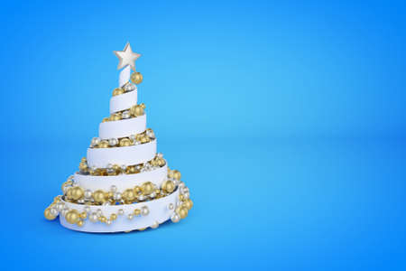 Spiral Christmas tree 3d color illustration. Helix Xmas fir tree with golden, silver balls. Luxury New Year decoration on blue gradient background. Greeting card, poster raster design element