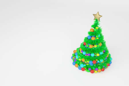 Artificial Christmas tree 3d color illustration. Xmas fir tree with spiral multicolor balls garland. Green New Year decoration on bright background. Greeting card, poster raster design element Stock Photo