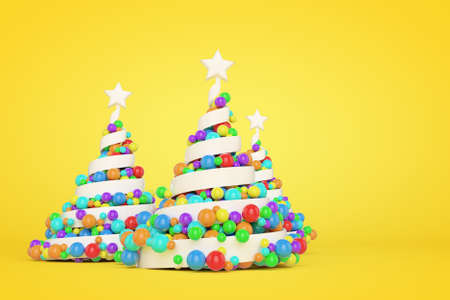 Spiral plastic Christmas trees 3d color illustration. White helix Xmas fir trees with multicolor balls. Colorful New Year decoration on yellow background. Greeting card, poster raster design element