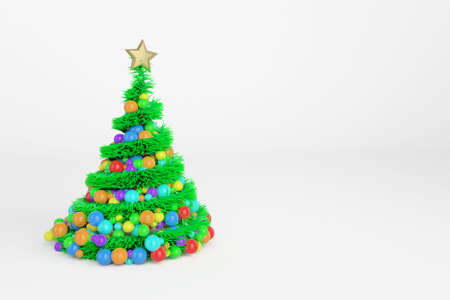 Artificial Christmas tree 3d color illustration. Xmas fir tree with spiral multicolor balls garland. Green New Year decoration on bright background. Greeting card, poster raster design element Imagens