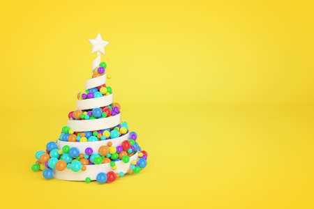 Spiral plastic Christmas tree 3d color illustration. White helix Xmas fir tree with multicolor balls. Colorful New Year decoration on yellow background. Greeting card, poster raster design element