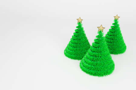 Artificial Christmas trees 3d color illustration. Realistic Xmas plastic fir trees with golden top star. Green fluffy New Year decoration on bright background. Greeting card, poster raster design element