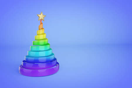 Rainbow spiral Christmas tree 3d color illustration. Plastic Xmas fir tree with golden top star. Colorful Xmas decoration on blue gradient background. Greeting card, poster raster design element