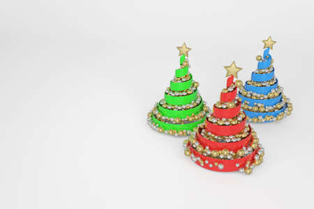 Spiral Christmas trees 3d color illustration. Helix plastic New Year fir trees with golden, silver balls. Green, blue, red Xmas decoration and text space. Greeting card, poster raster design element