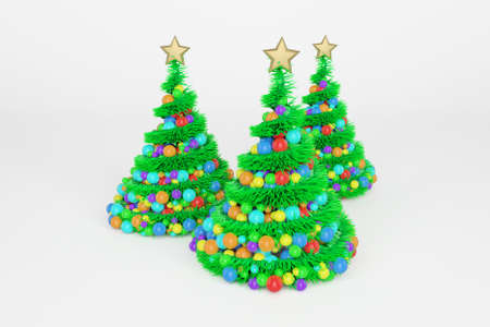 Artificial Christmas trees 3d color illustration. Xmas fir trees with spiral multicolor balls garland. Green New Year decoration on bright background. Greeting card, poster raster design element