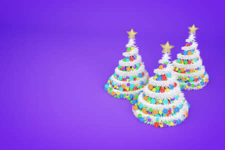 Artificial Christmas trees 3d color illustration. Xmas fir trees with spiral multicolor balls garland. New Year decoration on violet bright background. Greeting card, poster raster design element