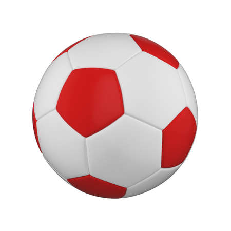 Soccer ball realistic 3d raster illustration. Isolated football ball on white background. International sports competition, tournament. Detailed design element for championship logo, poster