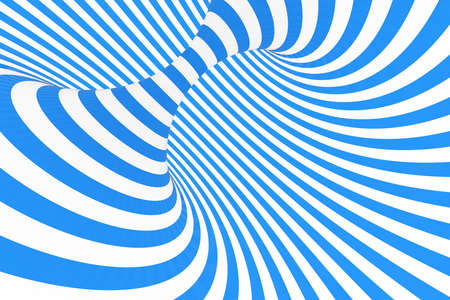 Swirl optical 3D illusion raster illustration. Contrast blue and white spiral stripes. Geometric winter torus image with lines, loops. Abstract art. Endless, infinity effect. Psychedelic background