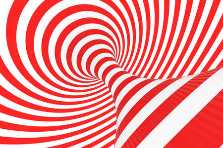 Swirl optical 3D illusion raster illustration. Contrast red and white spiral stripes. Geometric torus image with lines, loops. Abstract art. Endless, infinity effect. Psychedelic background Stock Photo