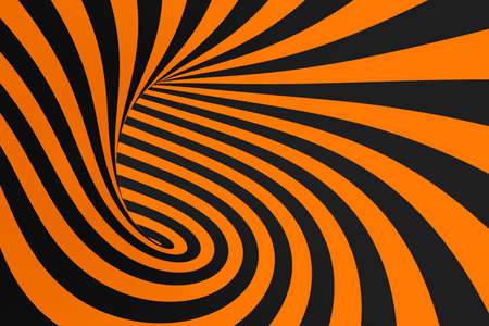 Tunnel optical 3D illusion raster illustration. Contrast lines background. Hypnotic stripes ornament. Black and orange geometric pattern. Endless, infinity effect tube image. Psychedelic, abstract art