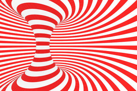 Swirl optical 3D illusion raster illustration. Contrast red and white spiral stripes. Geometric torus image with lines, loops. Abstract art. Endless, infinity effect. Psychedelic background Foto de archivo - 123256234