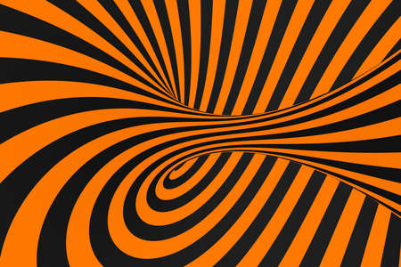 Tunnel optical 3D illusion raster illustration. Contrast lines background. Hypnotic stripes ornament. Black and orange geometric pattern. Endless, infinity effect tube image. Psychedelic, abstract art Foto de archivo - 123256236
