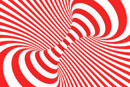 Swirl optical 3D illusion raster illustration. Contrast red and white spiral stripes. Geometric torus image with lines, loops. Abstract art. Endless, infinity effect. Psychedelic background Foto de archivo - 123812247