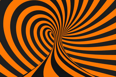 Tunnel optical 3D illusion raster illustration. Contrast lines background. Hypnotic stripes ornament. Black and orange geometric pattern. Endless, infinity effect tube image. Psychedelic, abstract art Foto de archivo - 123812249