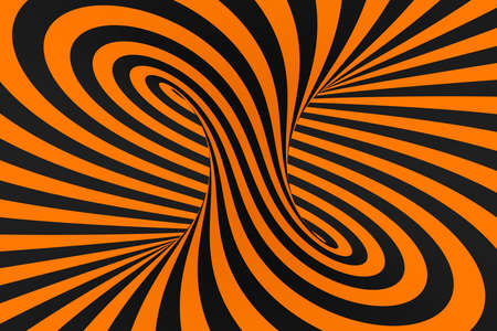 Tunnel optical 3D illusion raster illustration. Contrast lines background. Hypnotic stripes ornament. Black and orange geometric pattern. Endless, infinity effect tube image. Psychedelic, abstract art Foto de archivo - 123812250