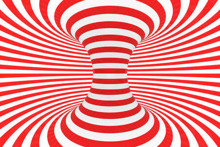 Swirl optical 3D illusion raster illustration. Contrast red and white spiral stripes. Geometric torus image with lines, loops. Abstract art. Endless, infinity effect. Psychedelic background Stockfoto